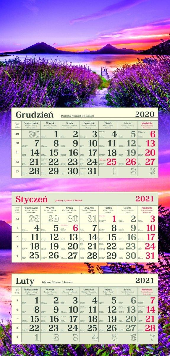 Kalendarz Trójdzielny R Lawenda 2021 in Kalendarz Roczny 2021 2021