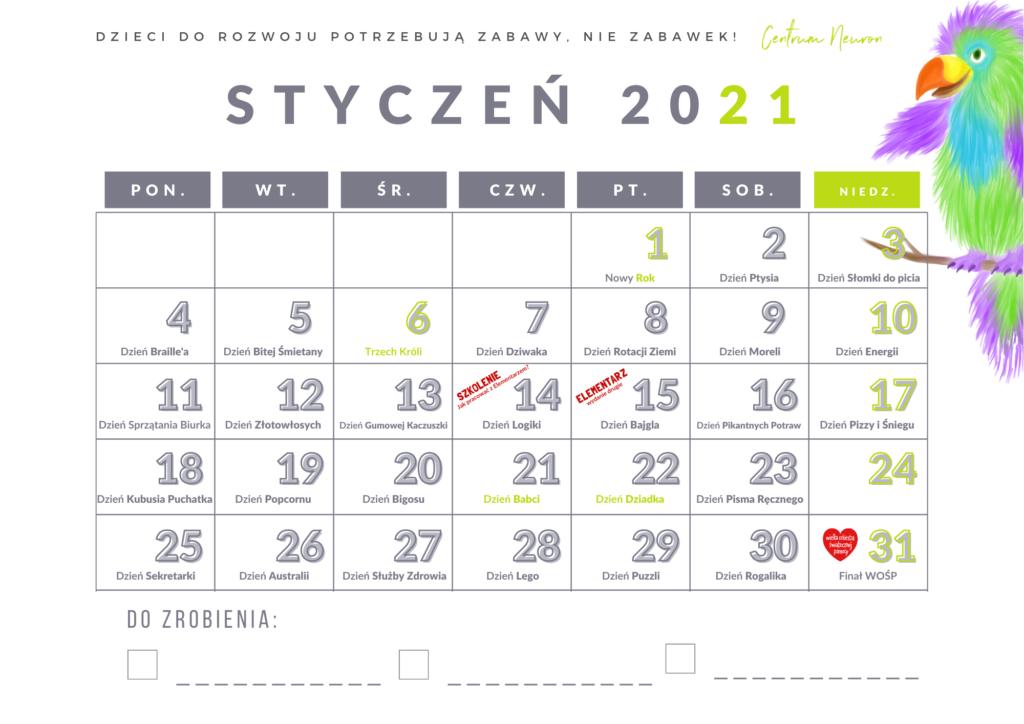 Kalendarz Za Darmo  Do 31.01.2021  Neuron  Śląskie in Kalendarz Roczny 2021 2021