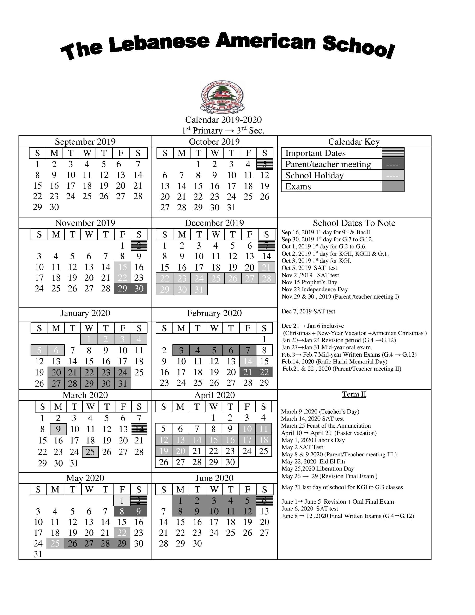 Lebanese American Schools intended for American School Of Doha Calendar