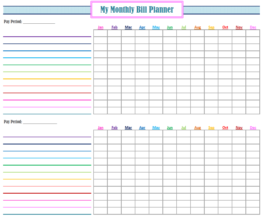 Make A Monthly Bill Chart   Example Calendar Printable pertaining to Bill Payment Chart