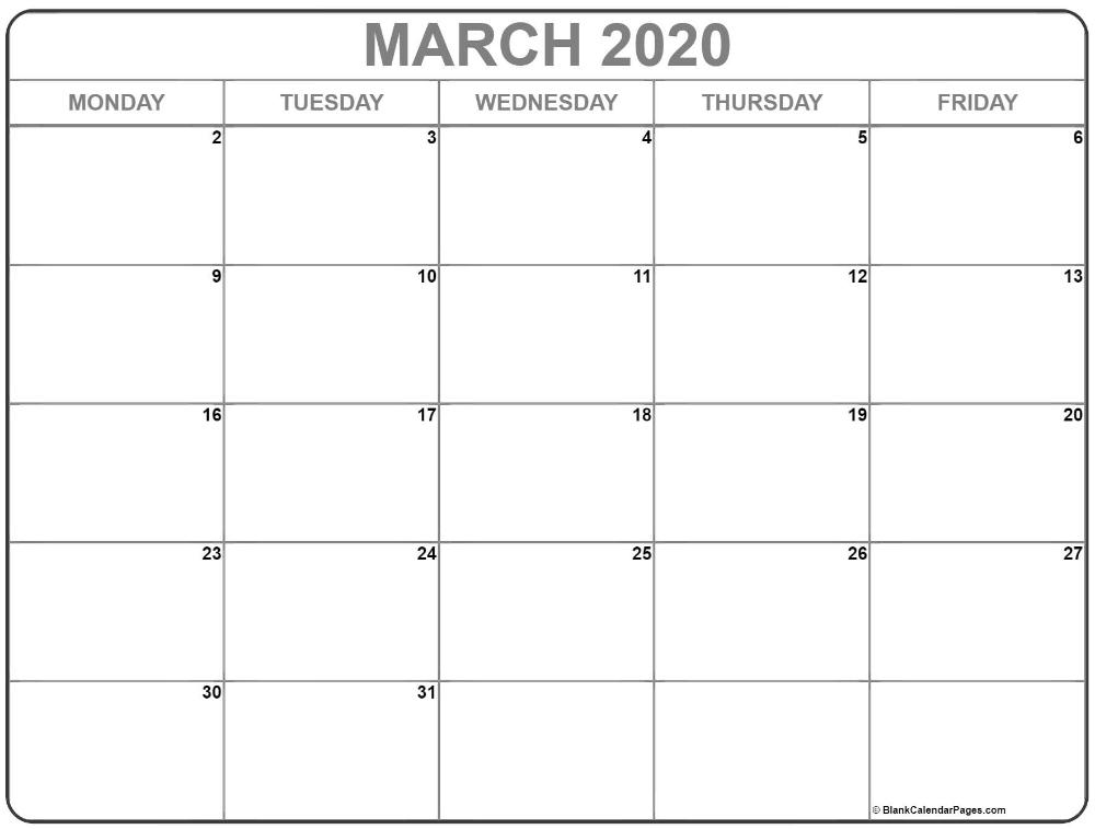 March 2020 Monday Calendar | Monday To Friday In 2020 within Blank Monday Through Friday Calendar