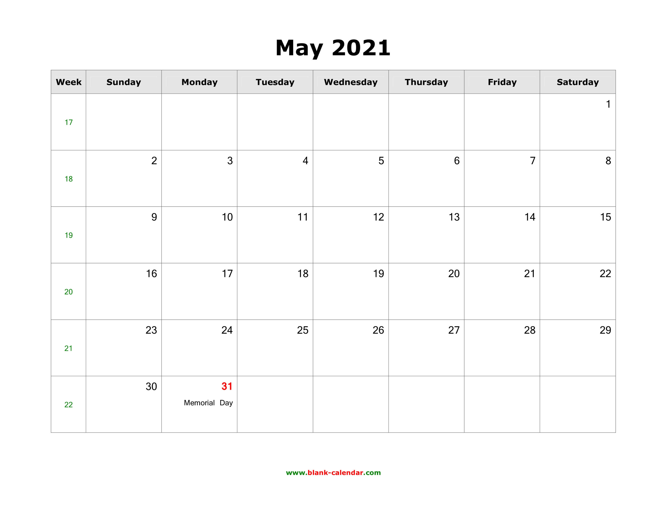 May 2021 Blank Calendar | Free Download Calendar Templates for Free Calendars 2021 Word Doc Printable August