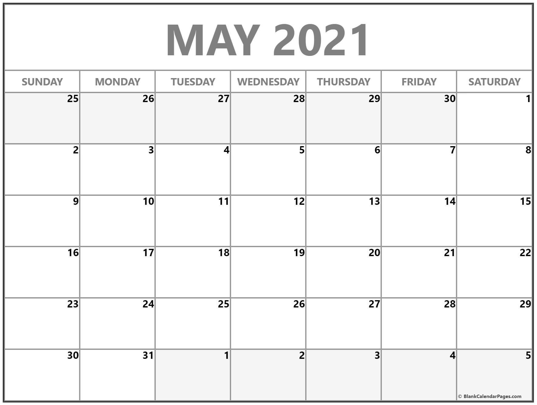 May 2021 Calendar | Free Printable Calendar Templates pertaining to Free Printable Calendars 2021 With Lines