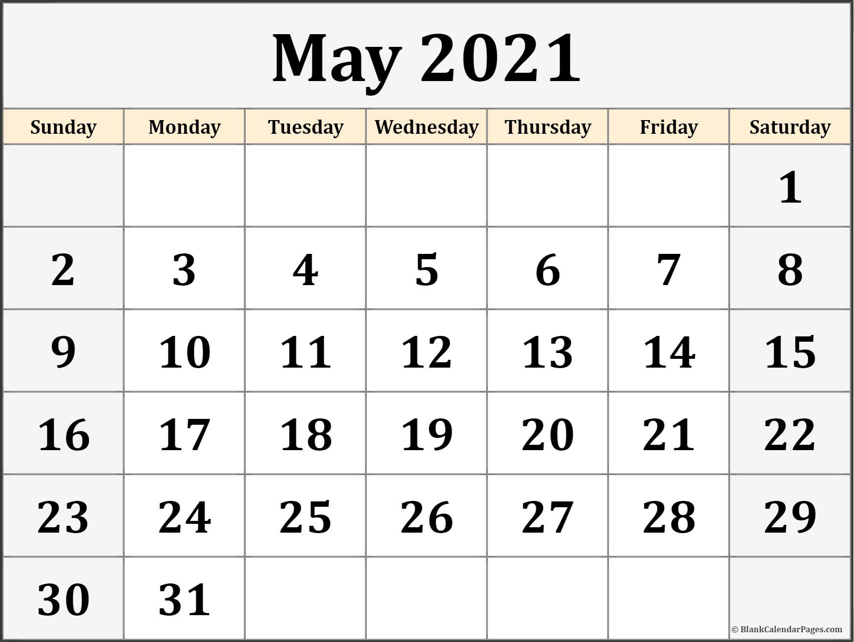 May 2021 Calendar | Free Printable Calendar Templates regarding Blank Monthly Calendar 2021