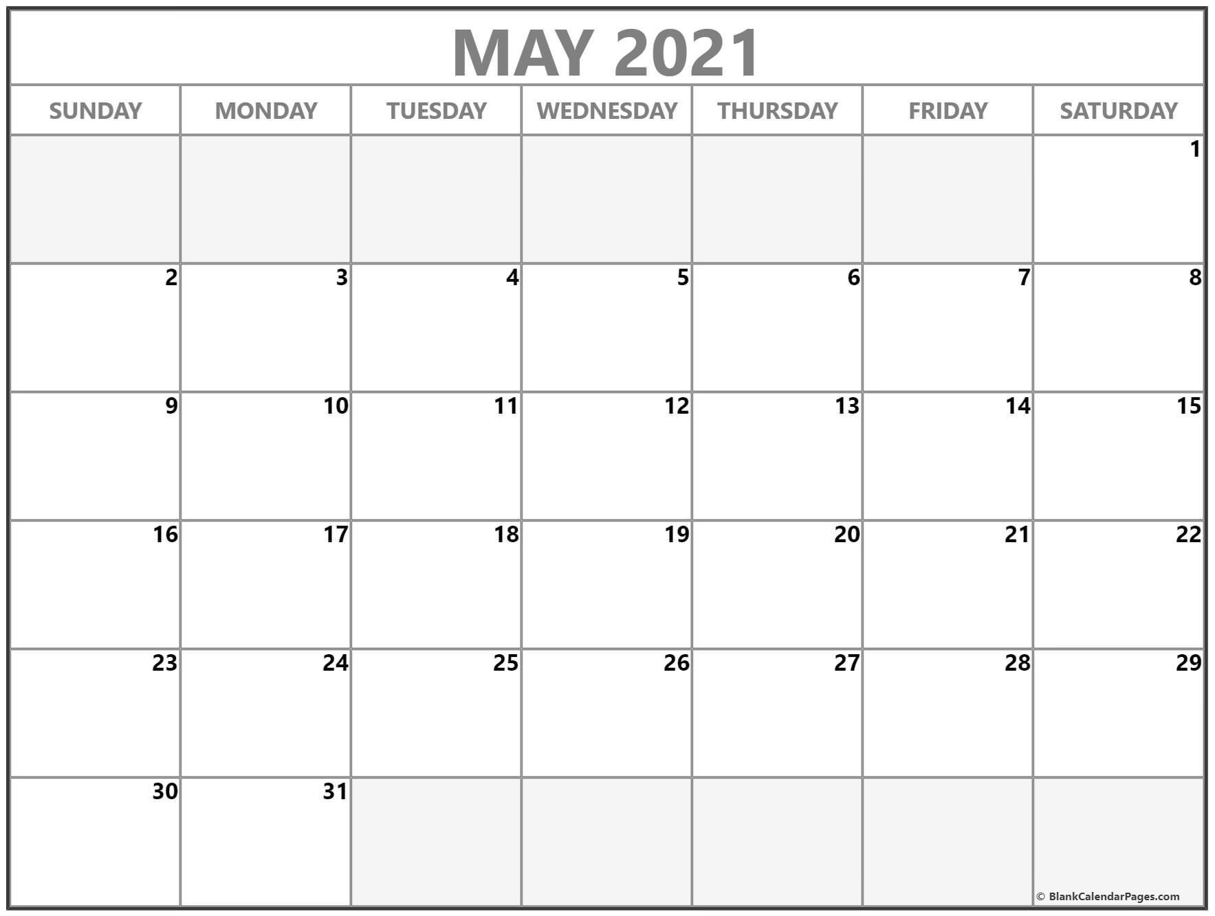 May 2021 Calendar | Free Printable Calendar Templates within Blank Monthly Calendar 2021