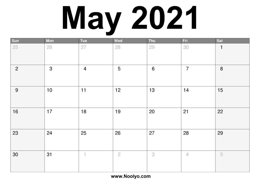 May 2021 Calendar Printable  Free Download  Noolyo with Free Printable Calendar With Lines On Days 2021