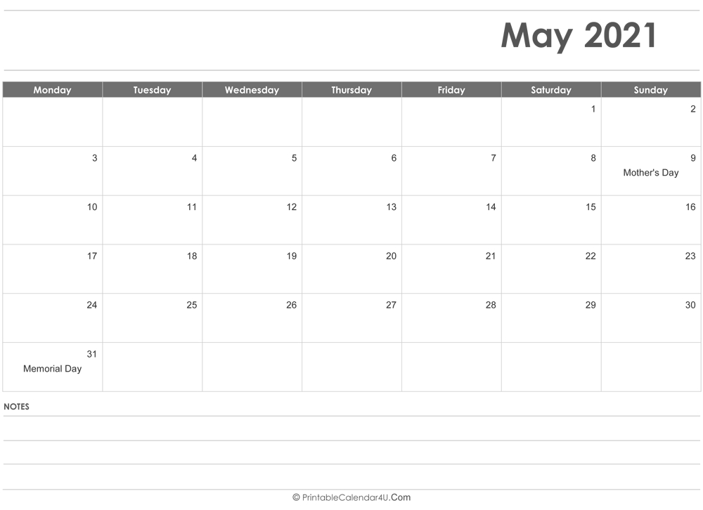 May 2021 Calendar Templates in Free Printable Calendar With Lines On Days 2021