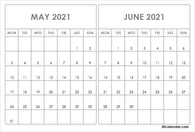 May June 2021 Calendar Image  May 2021 Calendar In Notes with regard to 2021 Calendar Excel Start Monday