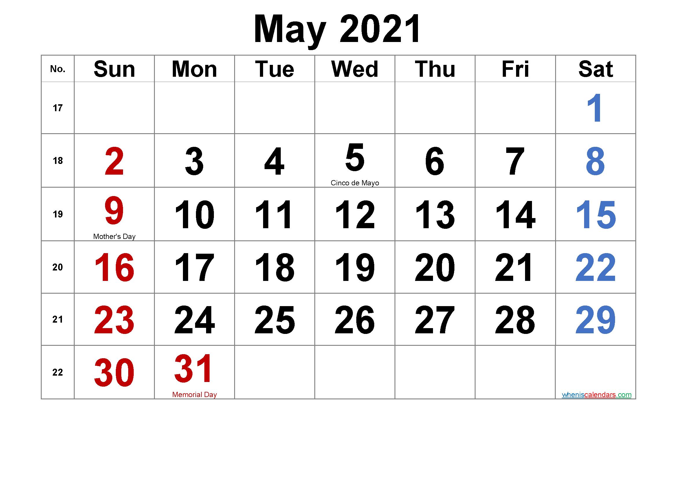 Memorial Day 2021 Calendar | Free 2021 Printable Calendars inside Free Printable Calendar With Lines On Days 2021