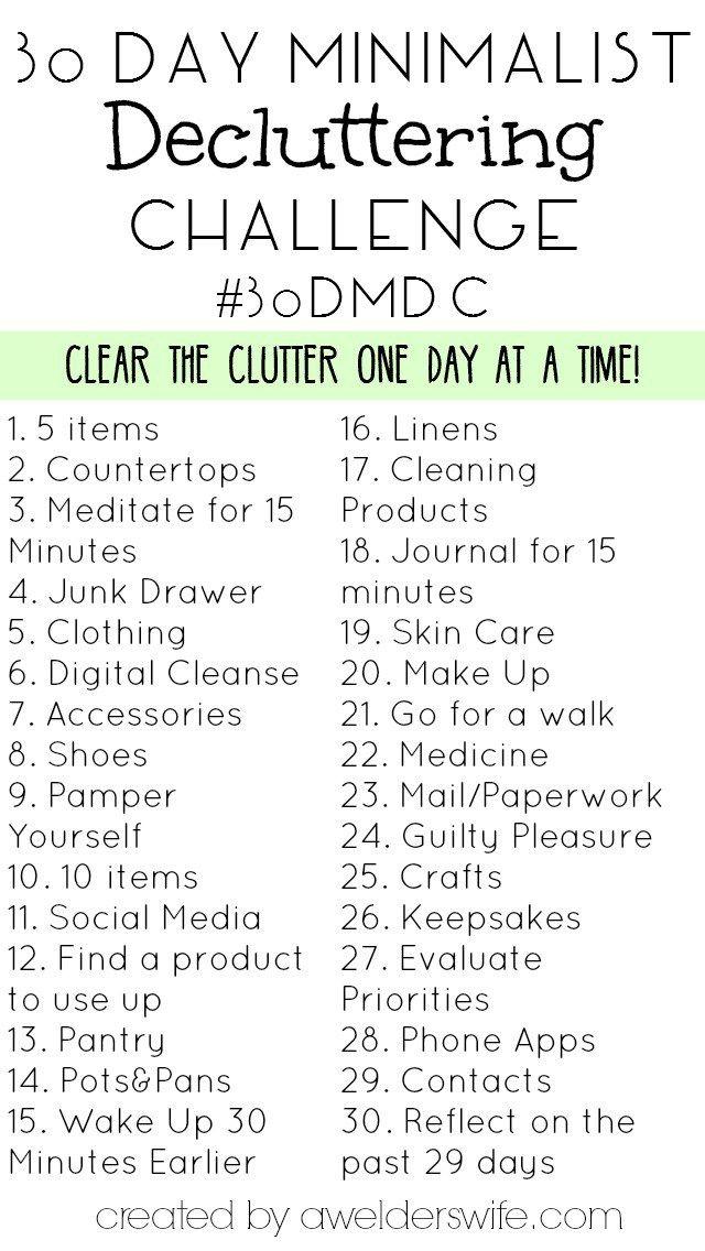 Minimalist Decluttering Challenge: My Decluttering inside 30 Day Declutter Challenge Calendar