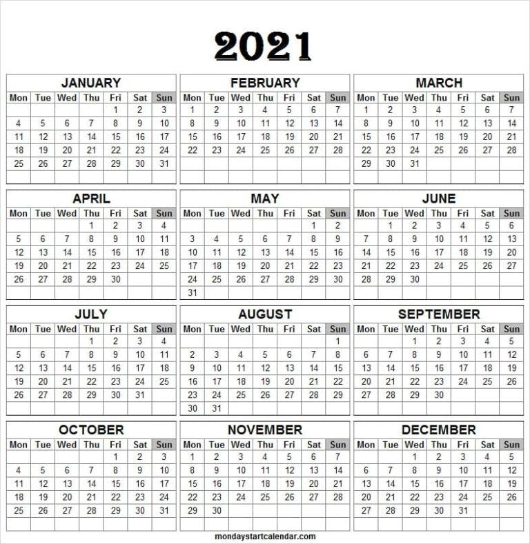 Monday Start 2021 Calendar Template  Printable Calendar with 2021 Calendar Excel Start Monday