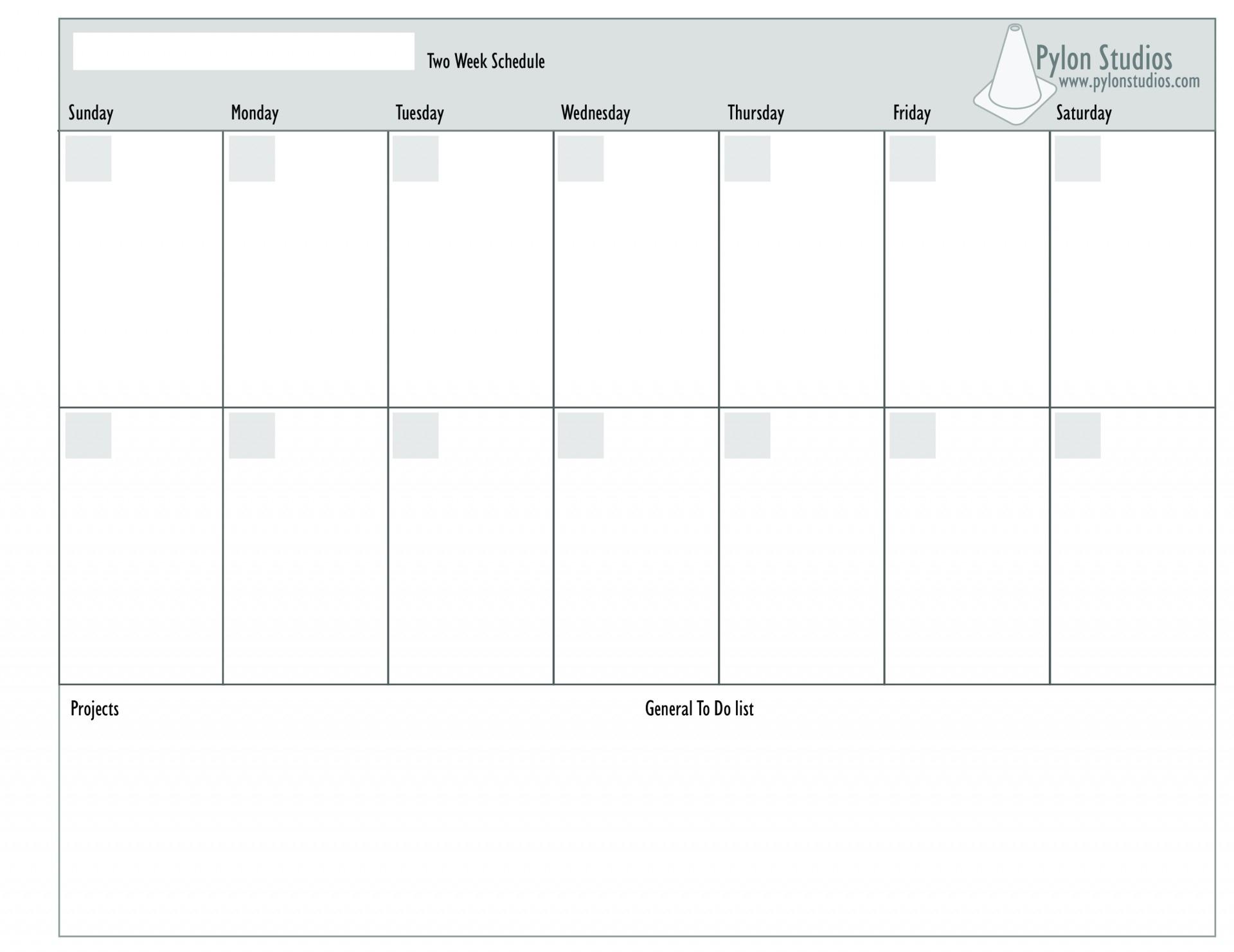 Monday To Friday 2 Week Calendar Template | Calendar inside Two Week Calendar