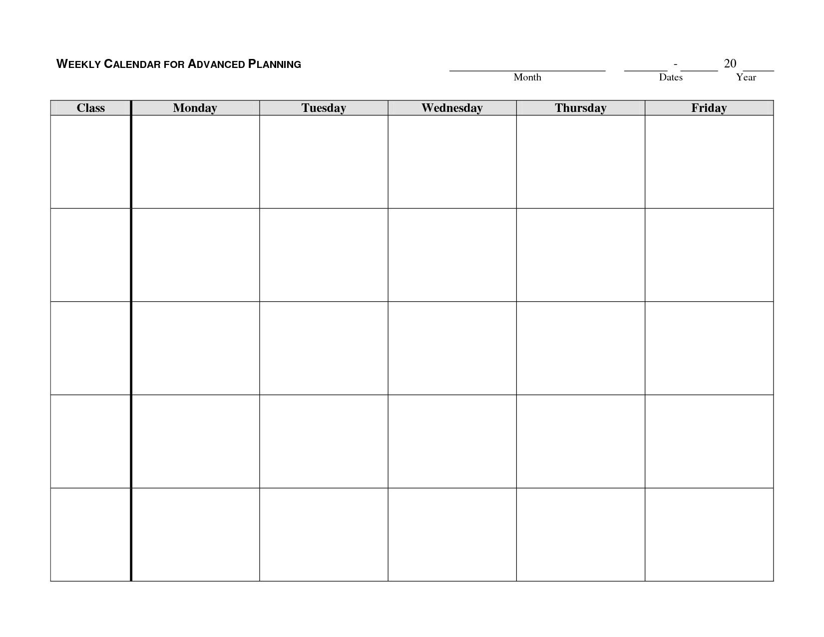 Monday To Friday Calendar Template | Calendar Template within Blank Monday Through Friday Calendar