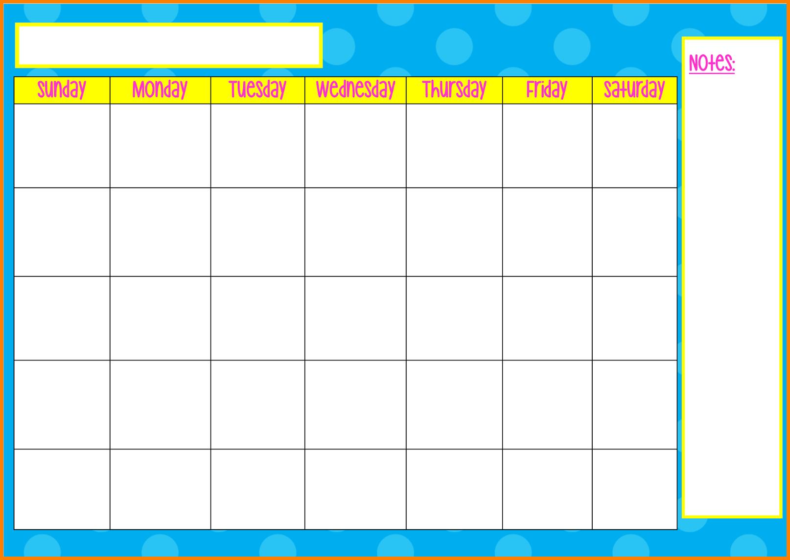 Monday To Friday Tempate Printable :Free Calendar Template inside Blank Calendar Monday Through Friday