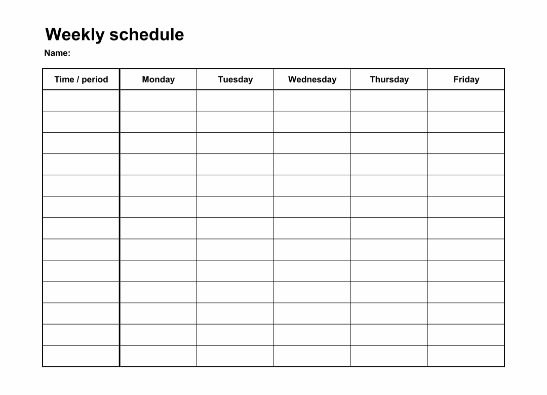 Monday+Through+Friday+Schedule+Template In 2020   Schedule intended for Blank Calendar Monday Through Friday