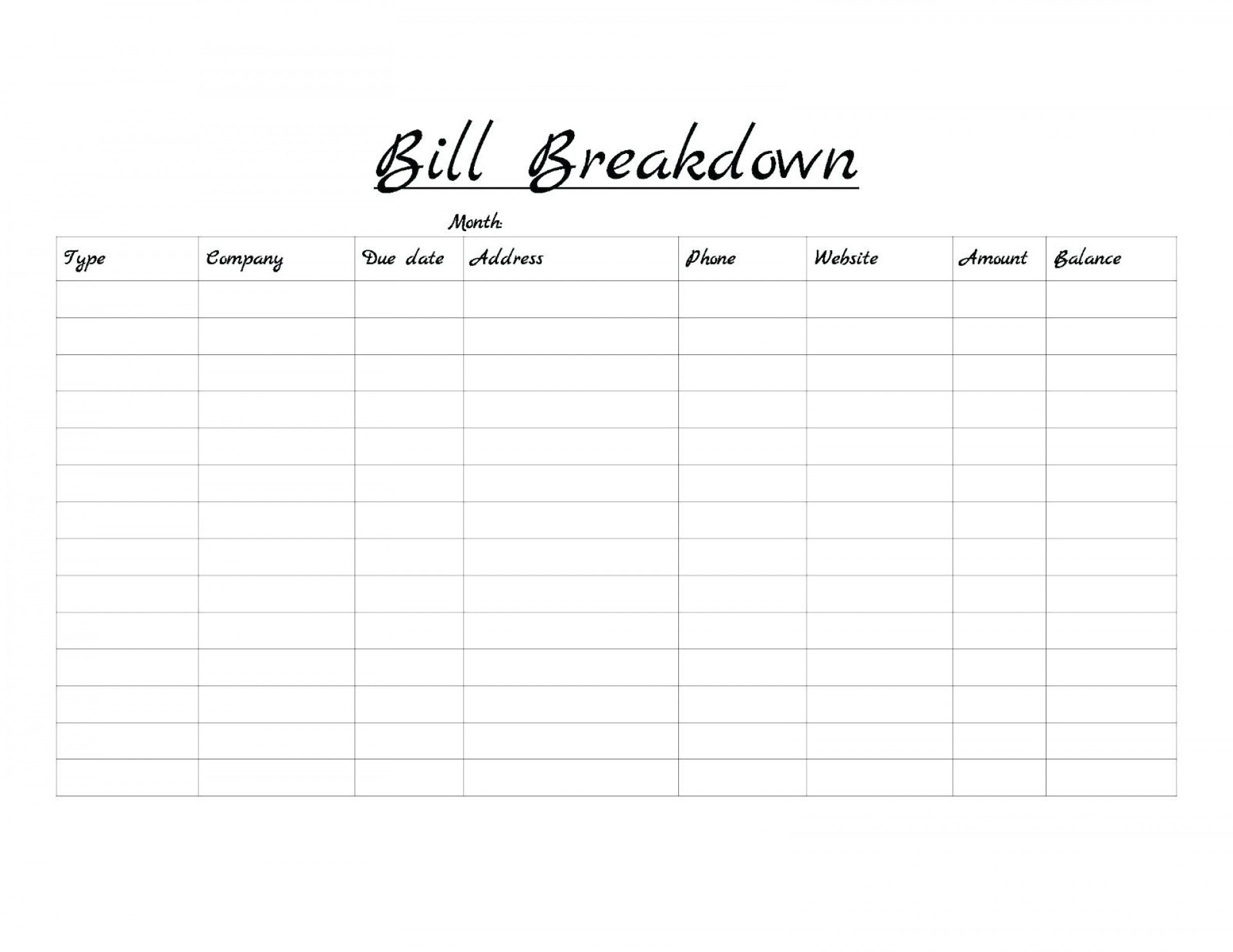 Monthly Bill Template Free Printable   Calendar Template intended for Bill Payment Calendar Printable