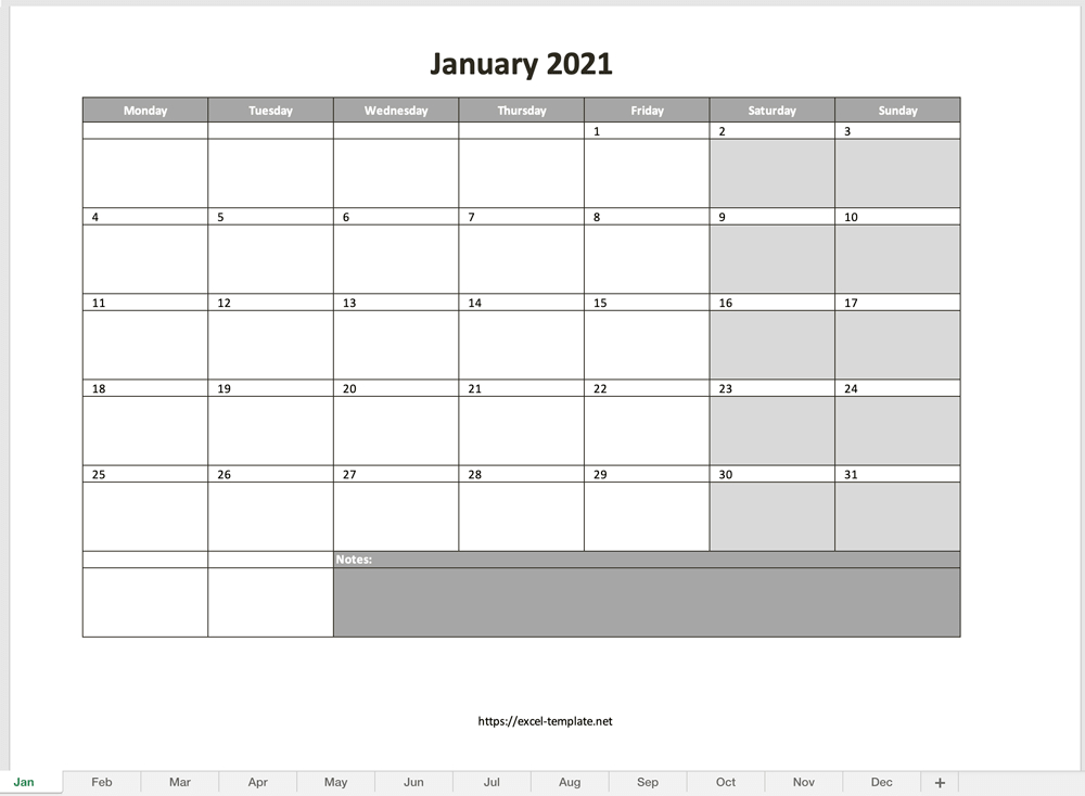Monthly Calendar For 2021 [Free Excel Template] within Monthly Calendars Free Ruled 2021