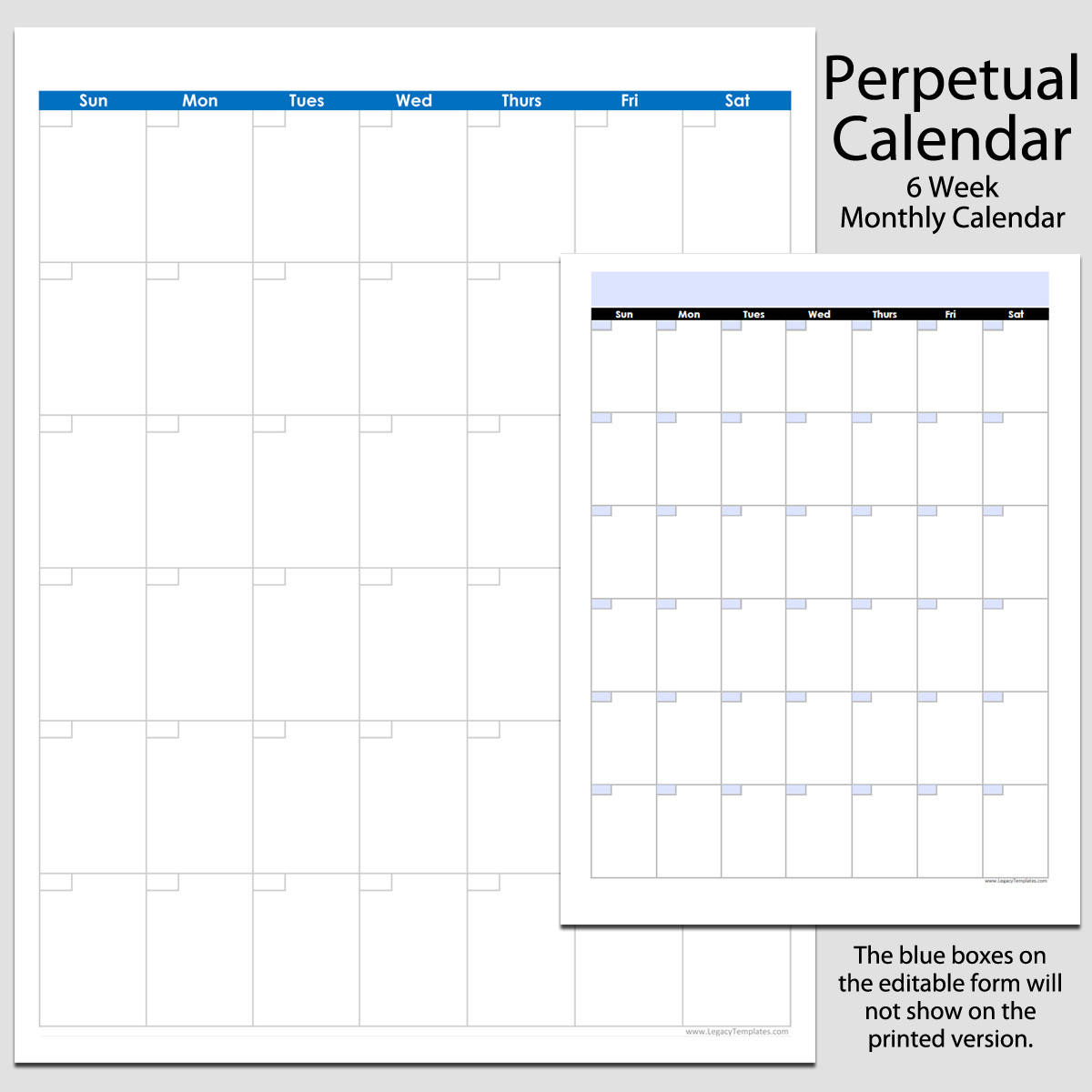 Monthly Perpetual Calendar In Portrait  8 12″ X 11 inside Perpetual Monthly Calendar