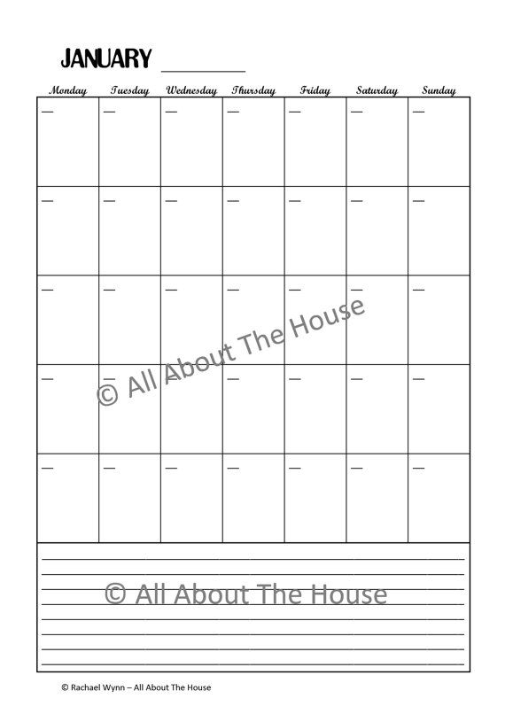 Monthly Perpetual Calendar With Notes  Printable Calendar intended for Perpetual Monthly Calendar