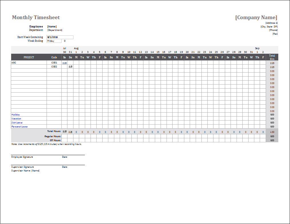 Monthly Timesheet Template For Excel And Google Sheets for Excel Monthly Tracker Template