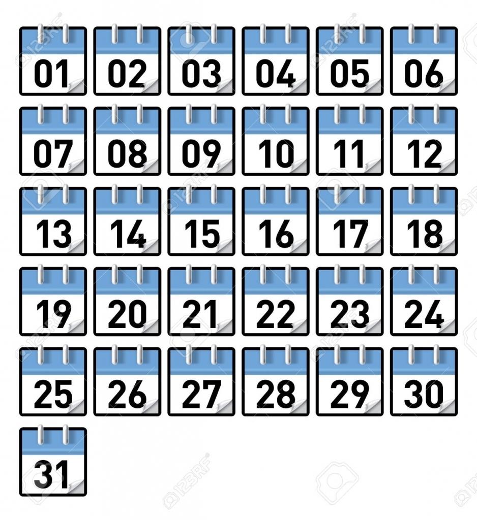 Numbers 1 To 31 :Free Calendar Template in Printable Numbers 1-31