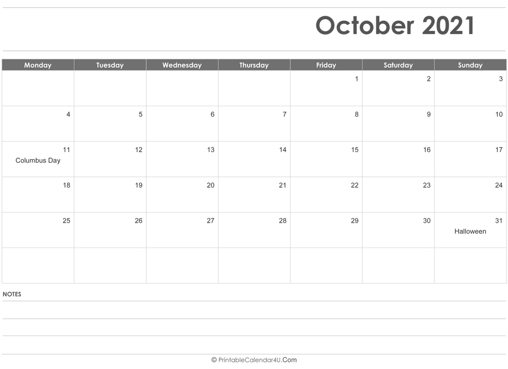 October 2021 Calendar Templates intended for 2021 Word Calendar Wincalendar
