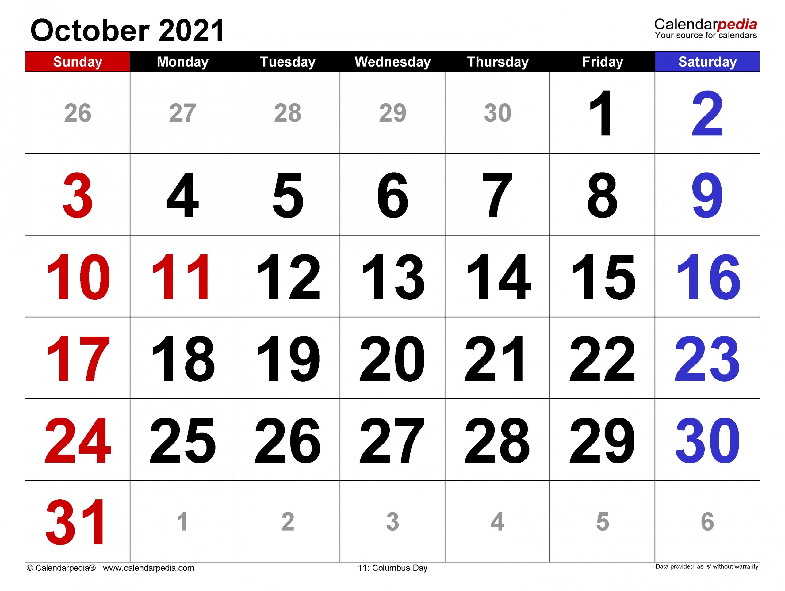 October Calendar 2021 | Month Calendar Printable intended for 2021 Writable Calendars By Month