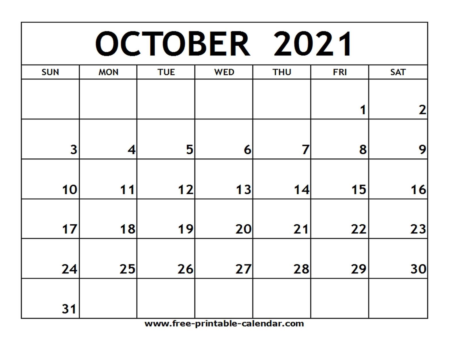 October Calendar 2021 | Month Calendar Printable pertaining to Blank Monthly Calendar 2021