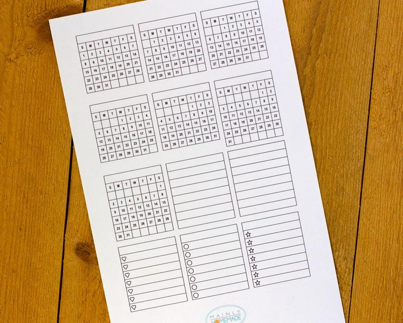 Perpetual Calendar Sticker Monthly Grid For Bullet Journal intended for Perpetual Monthly Calendar
