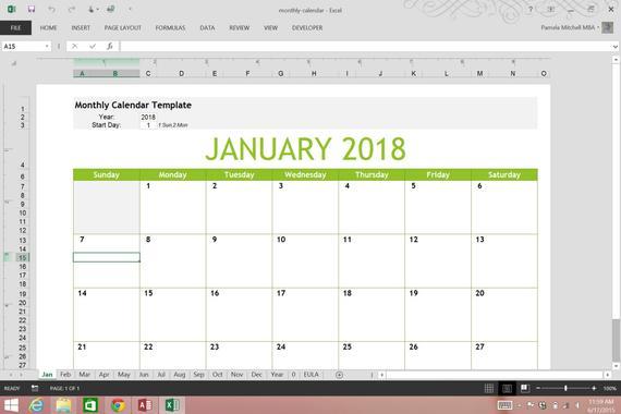 Perpetual Monthly Calendar Excel Spreadsheet Template throughout Perpetual Monthly Calendar