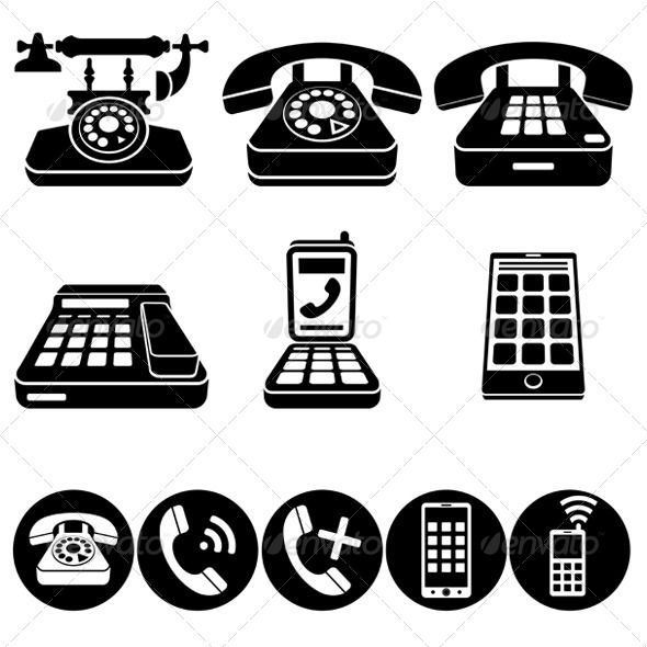 Phone Vector Icons #Graphicriver Phone Icons. Various in Wingdings Calendar Symbol