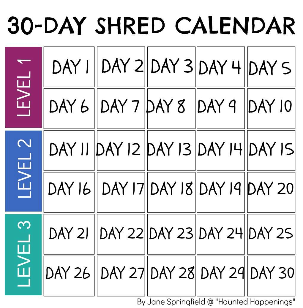 Pin By Jennifer Anton On Exercise | 30 Day Shred, Jillian with regard to 30 Days Calendar Template