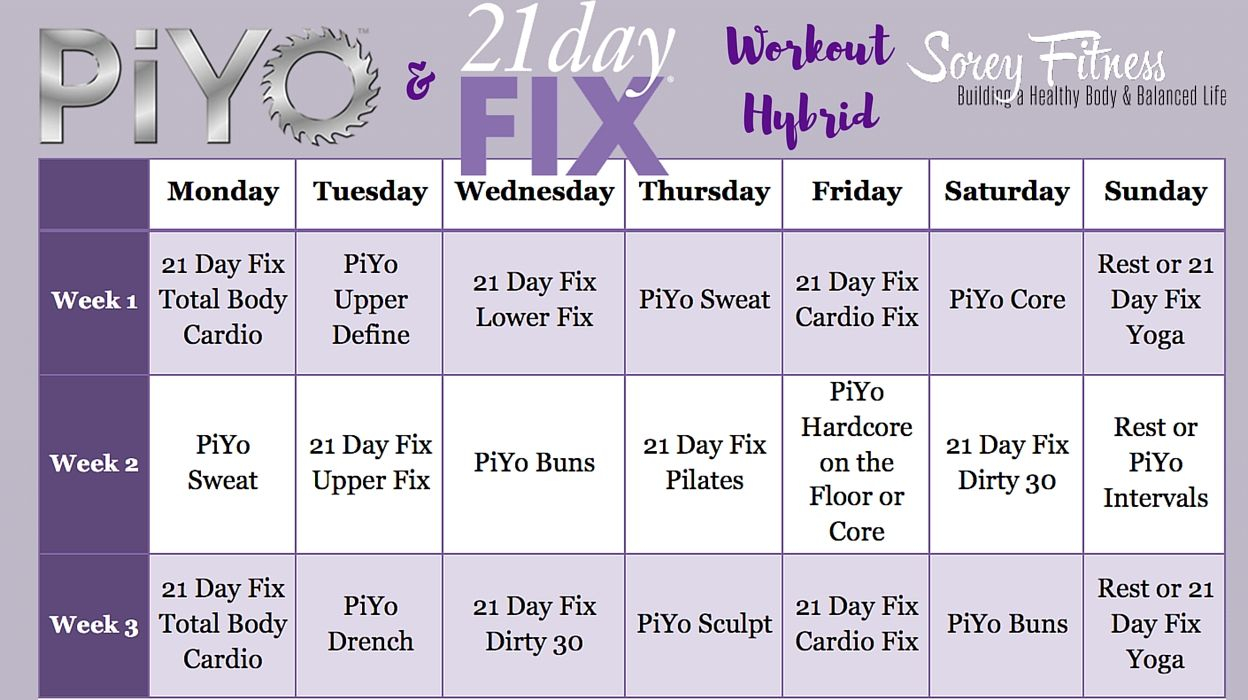 Pin On 21 Day Fix Review for Piyo Calendar Printable