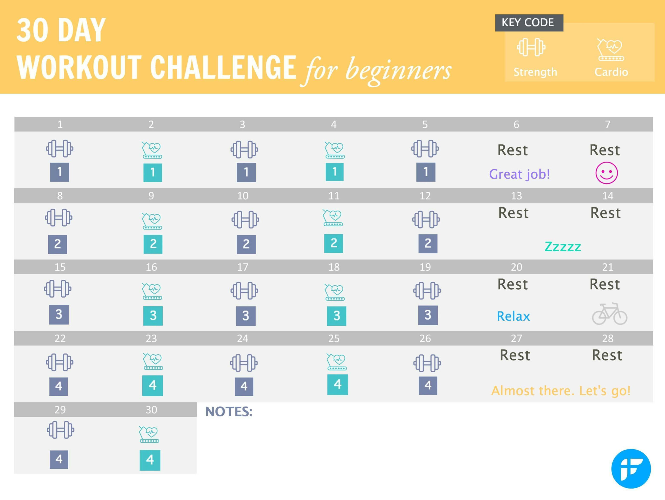 Pin On 30 Day Fitness Challenge with Printable 30 Day Calendar