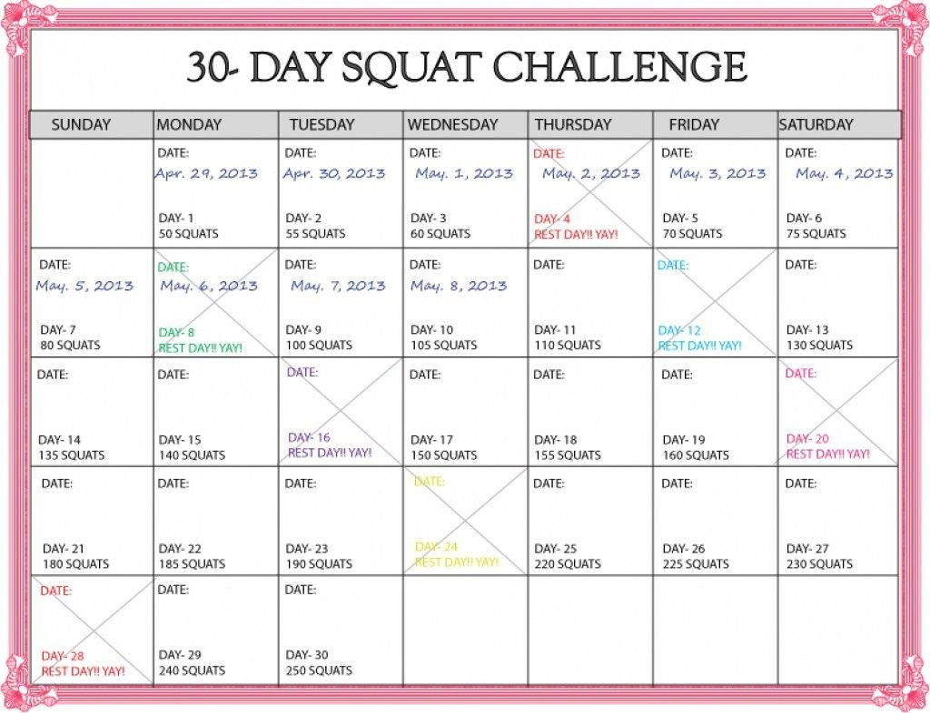 Plank 30 Day Challenge Excel :Free Calendar Template for Printable 30 Day Calendar