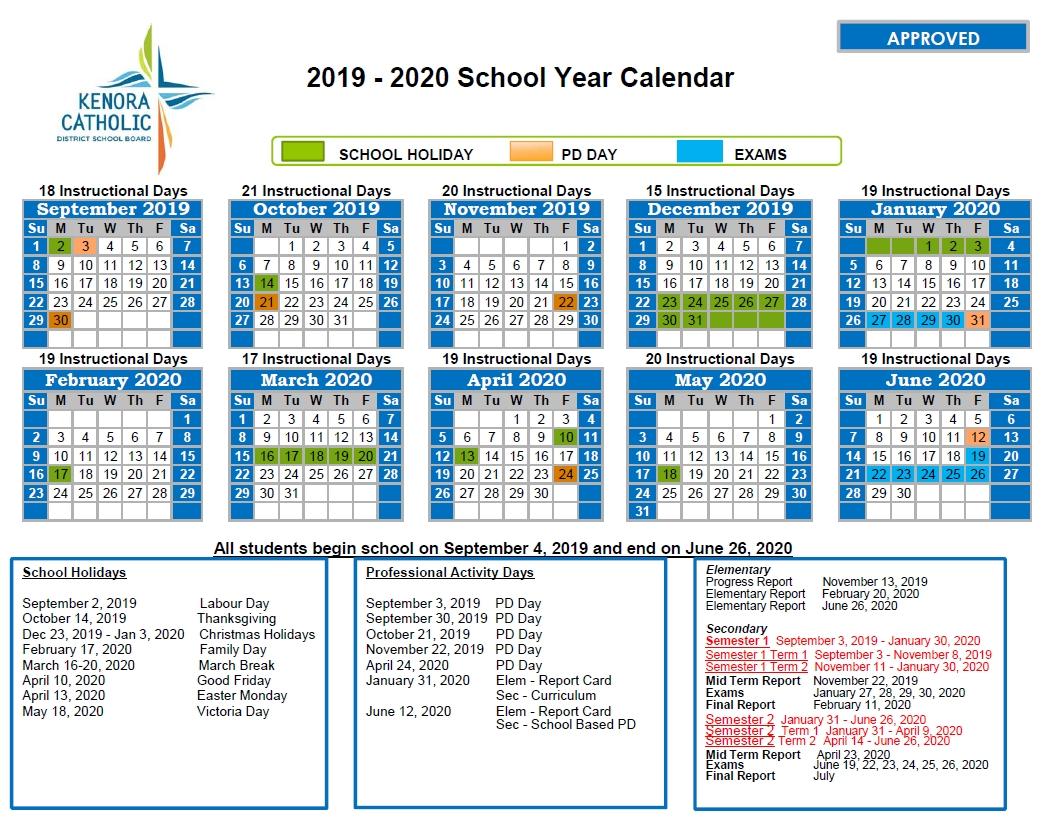 Png 2020 Education Calendar | Get Free Calendar in Ocsb School Year Calendar