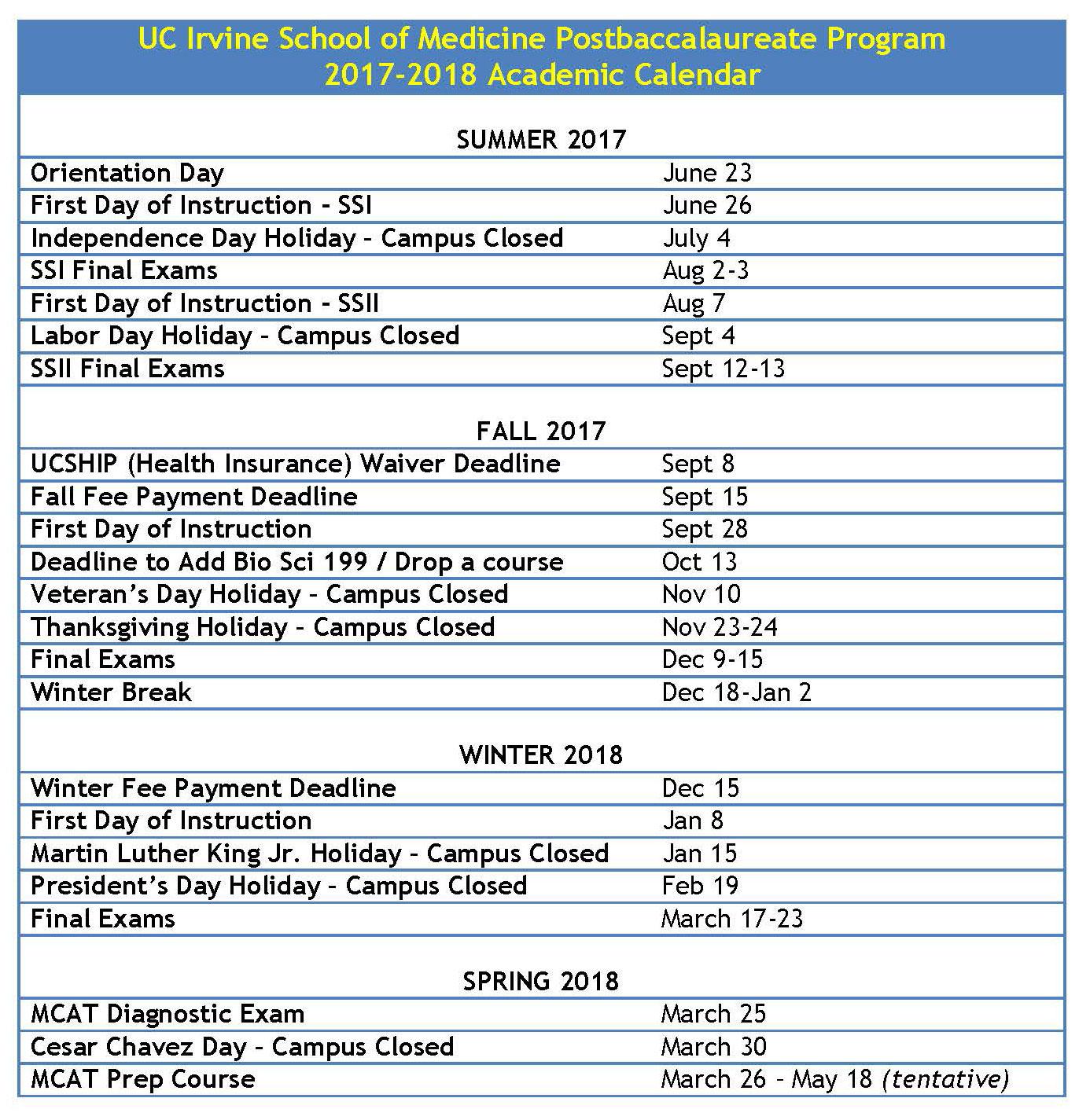 Postbaccalaureate Program   Medical Education   School Of regarding Cal Berkeley Academic Calendar
