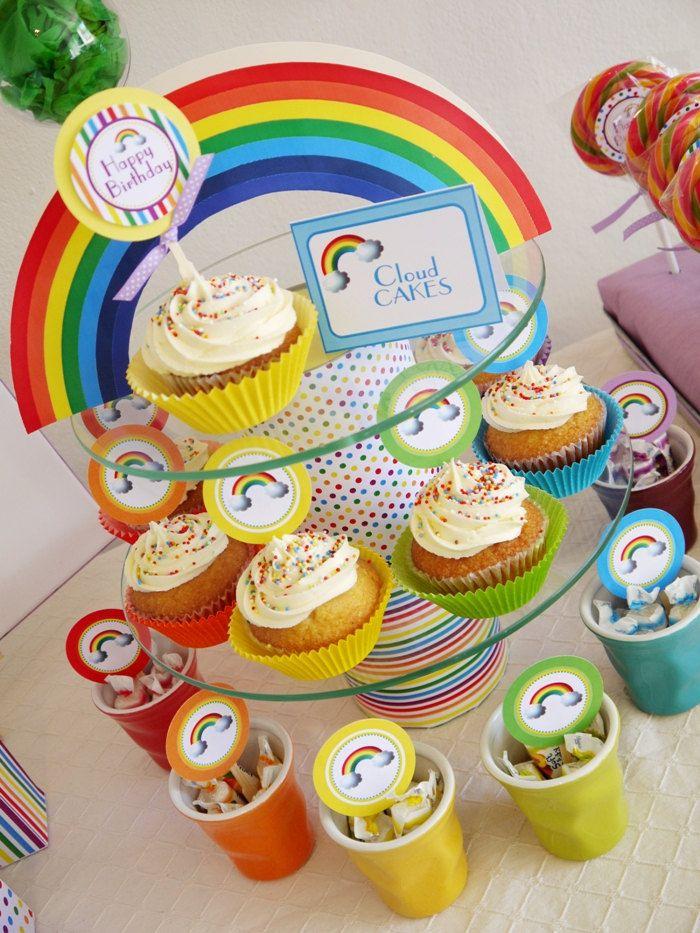 Pretty Rainbow Cupcake Display   Rainbow Cupcakes, Cupcake with regard to Cupcake Birthday Display