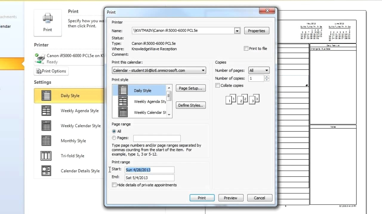 Print Calendar In Outlook Without Appointments | Ten Free regarding Print Yearly Calendar Outlook