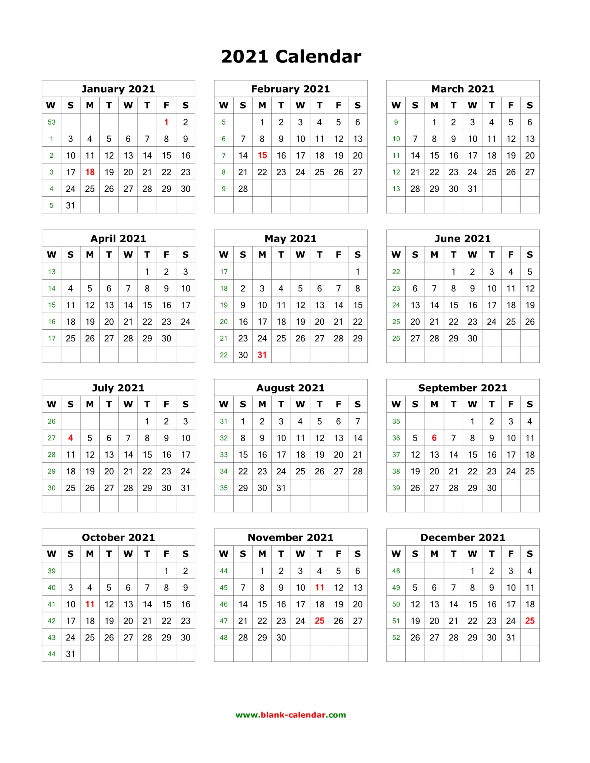 Printable 12 Month Calendar 2021 throughout 3 Month Blank Printable Calendar 2021