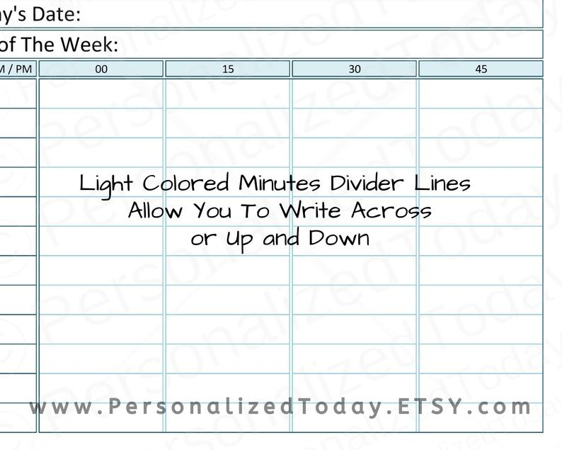 Printable 12 Or 24 Hours Daily Time Planner 15 Minute | Etsy in Daily Calendar With 15 Minute Time Slots