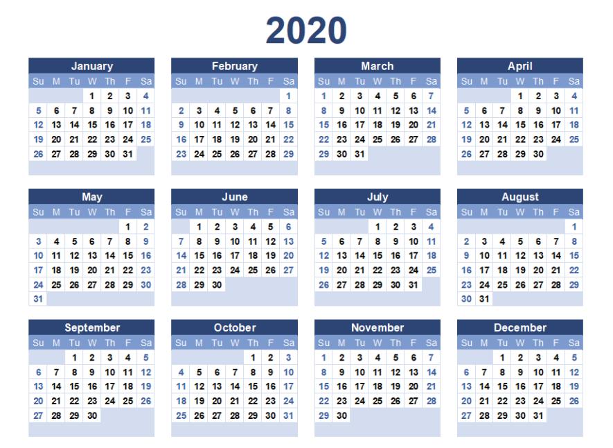 Printable 2020 Calendar Free Blank Templates  Calendar regarding Printable Blank Calendar Template