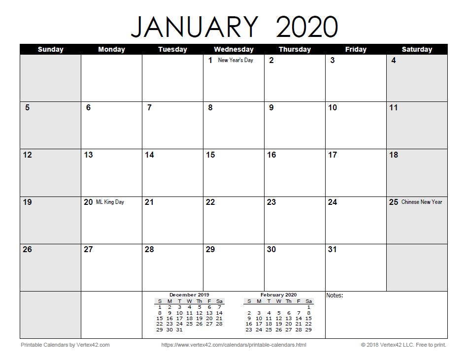 Printable 2020 Calendars Pdf Calendar 12 Com regarding Vertex Free Calendar