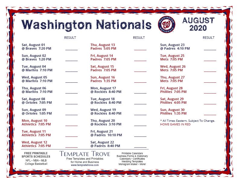 Printable 2020 Washington Nationals Schedule for Atlanta Braves Printable Schedule Calendar 2021