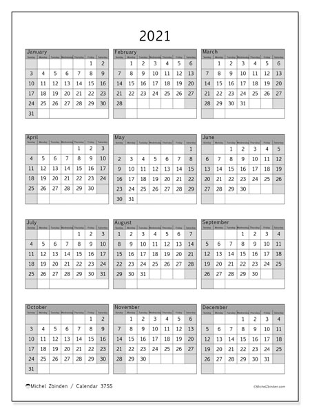 """Printable 2021 """"37Ss"""" Calendar  Michel Zbinden En intended for Free Printable Calendars 2021 With Lines"""