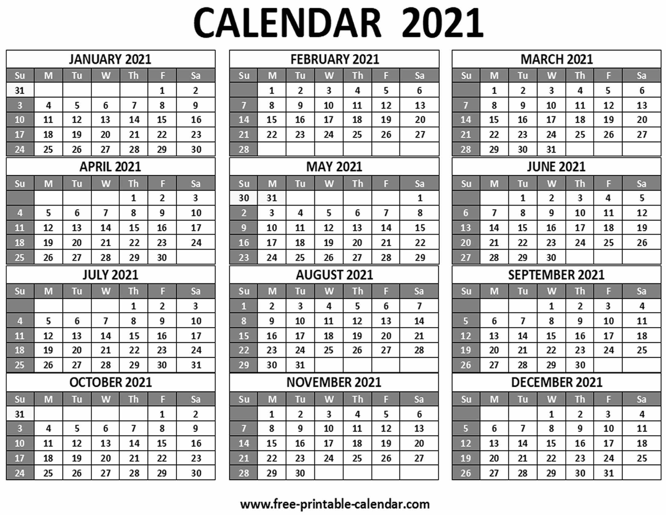Printable 2021 Calendar  Freeprintablecalendar in Free 3 Month Calendar One Page 2021