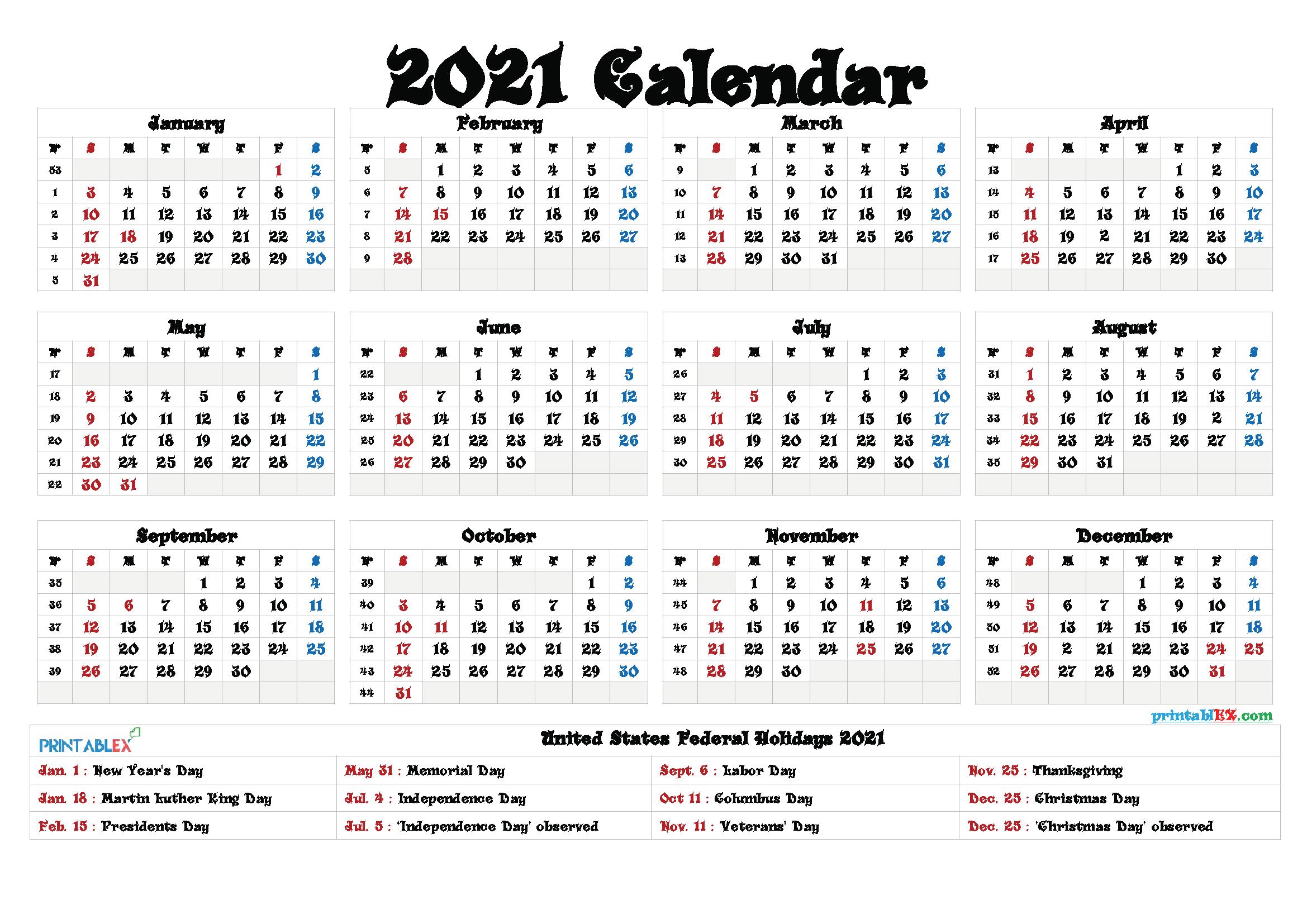 Printable 2021 Calendar With Federal Holidays   Printable Calendars 2021 with 2021 Calendar Free Printable
