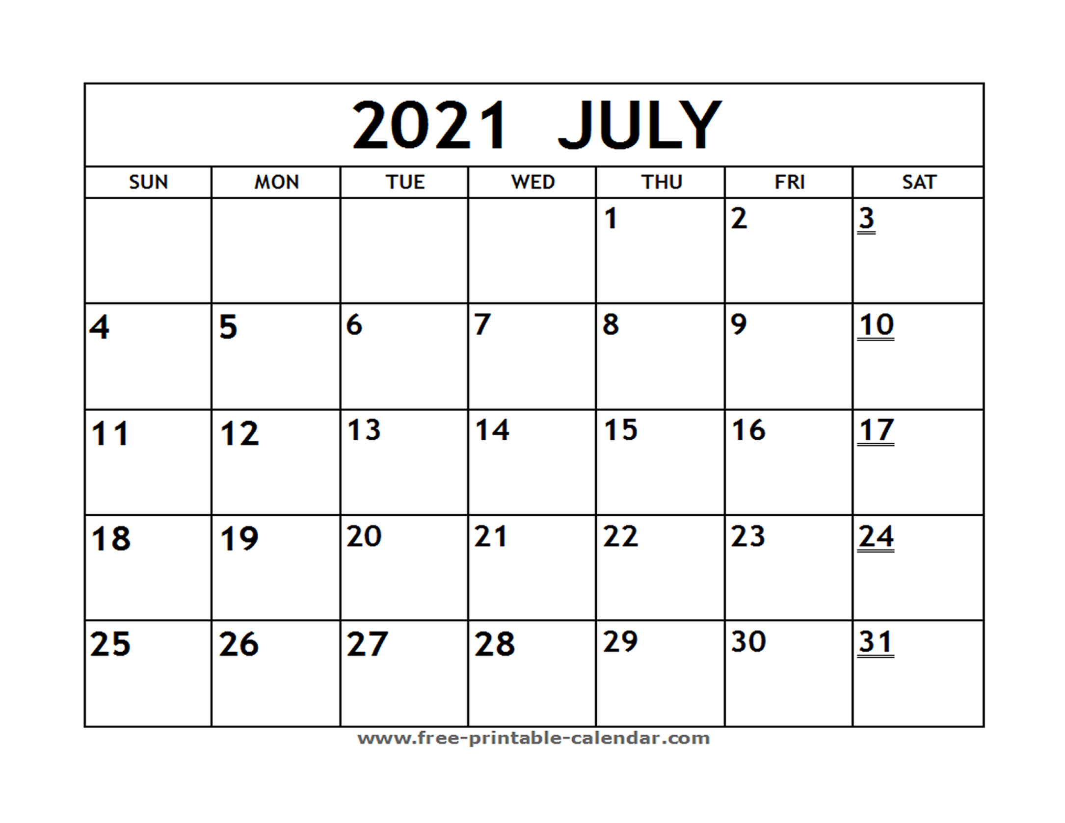 Printable 2021 July Calendar  Freeprintablecalendar throughout Blank Monthly Calendar 2021