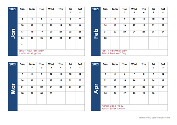 Printable 2021 Monthly Calendar Templates  Calendarlabs pertaining to 3 Month Calendar 2021 Printable Free