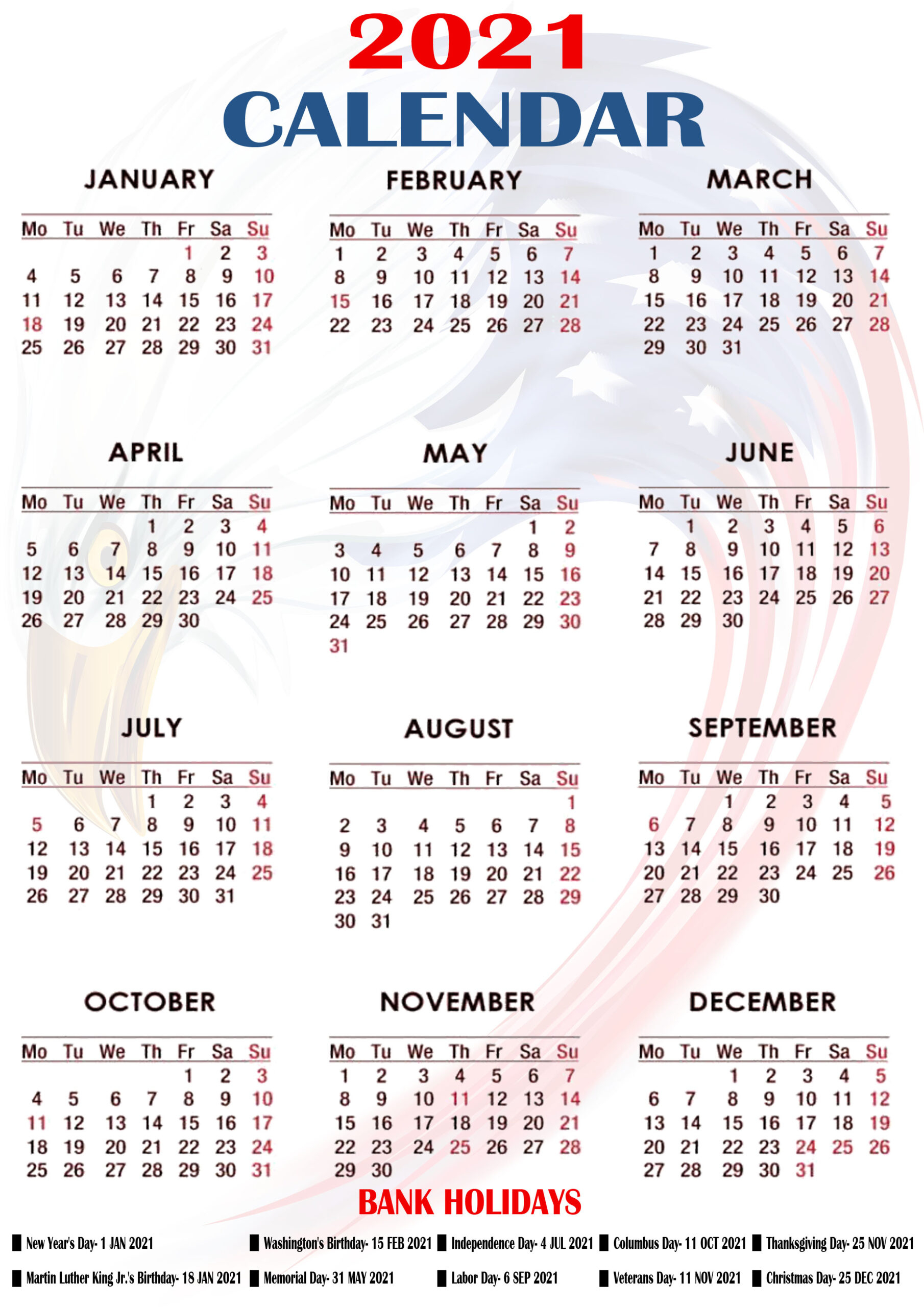 Printable 2021 Us Calendar With Holidays, Federal, Bank throughout Federal Holidays 2025
